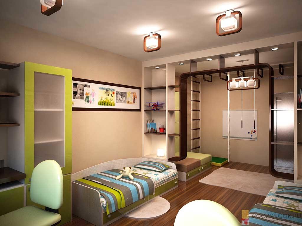 спальное место, спортивный уголок и стол