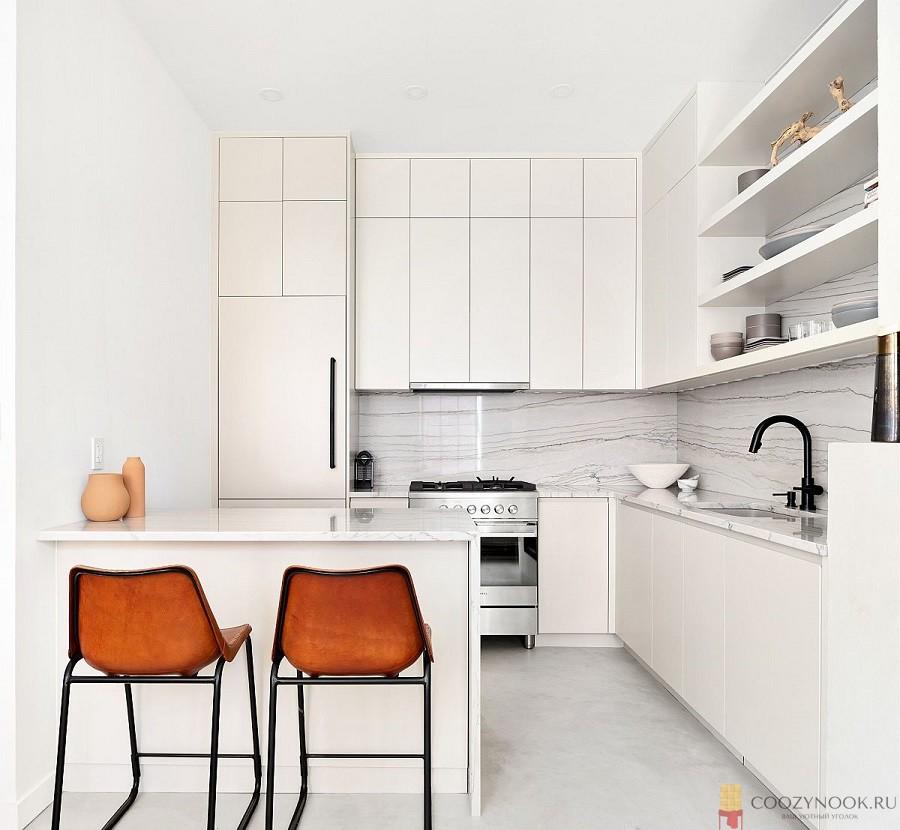 контраст, кухня, в скандинавском стиле, фото, пример