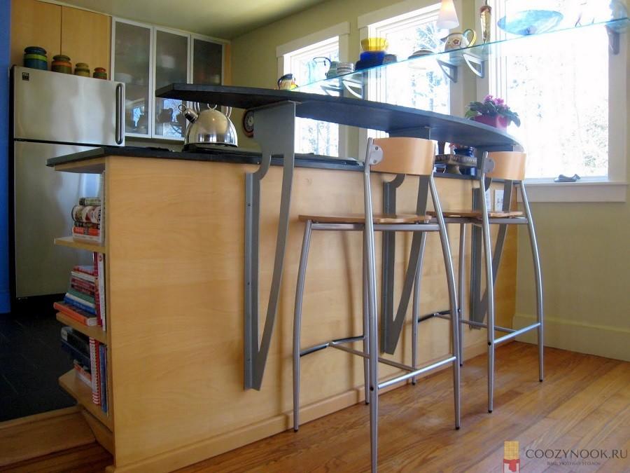 многоуровневая, барная стойка, фото, пример, кухня
