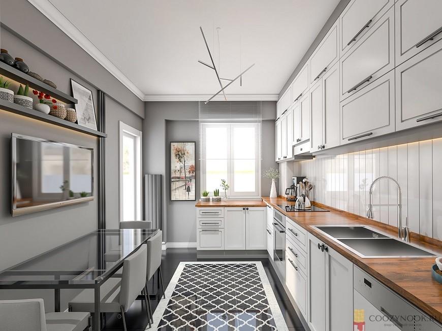 потолок, белый, кухня в скандинавском стиле, фото, пример