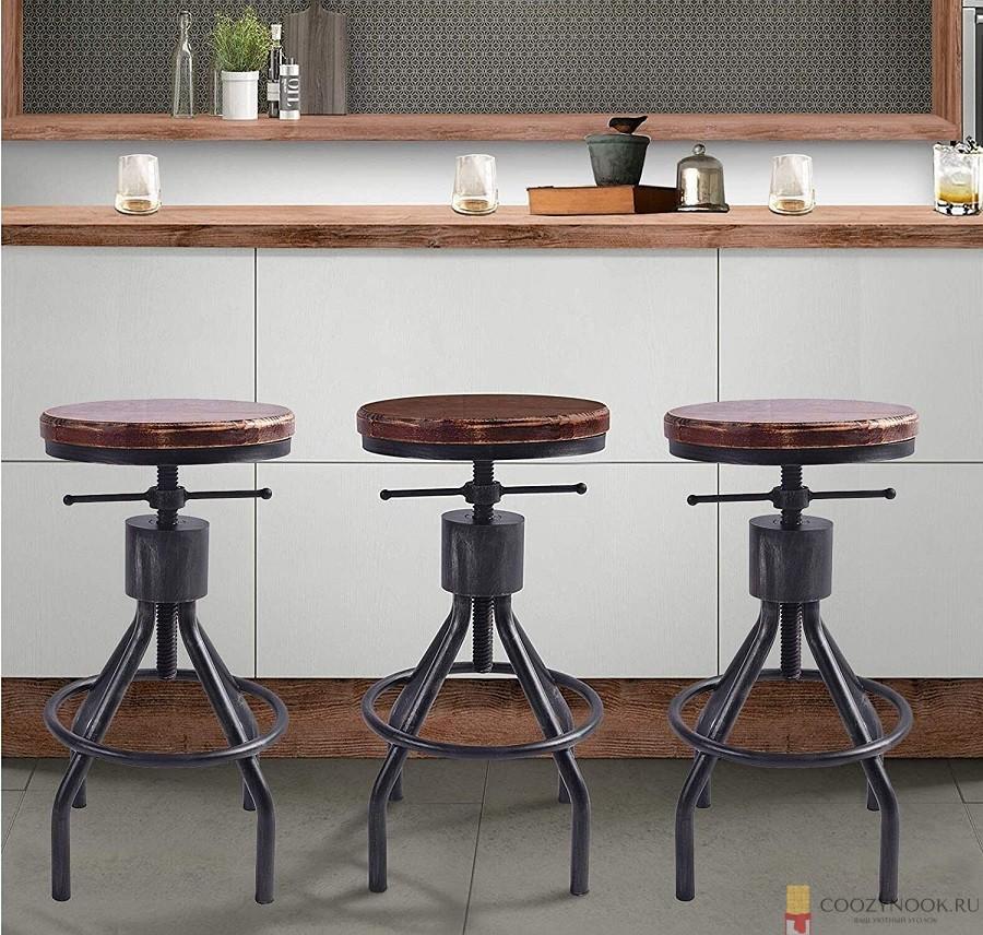стул, поворотные, барная стойка, фото, пример, кухня