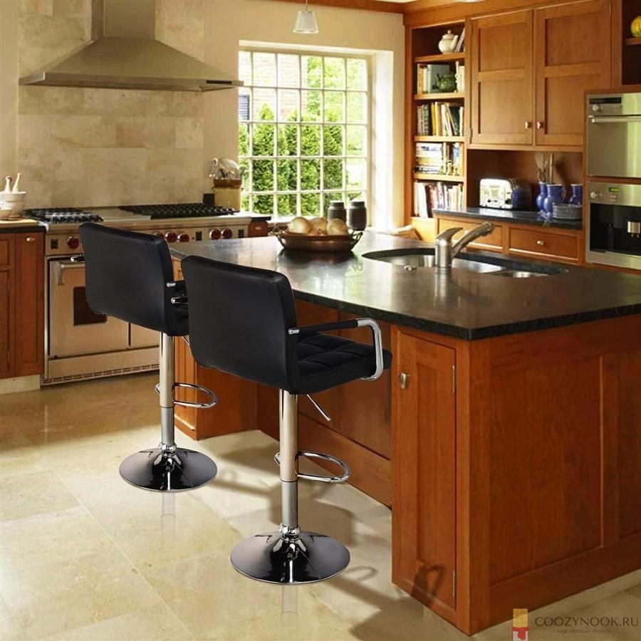 стул, с подлокотниками, барная стойка, фото, пример, кухня