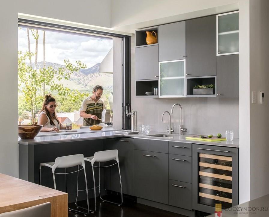 узкая, маленькая, компактная, барная стойка, фото, пример, кухня