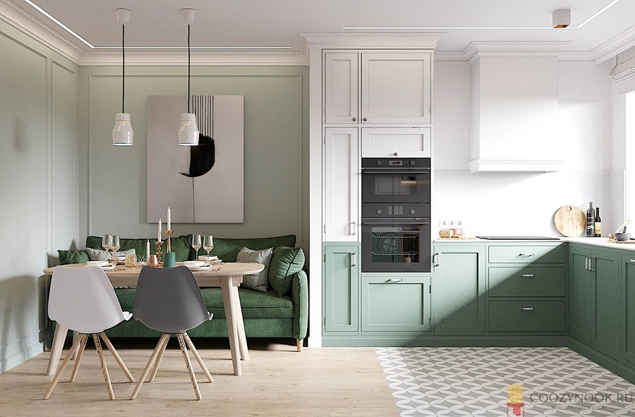 зеленая, кухня, в скандинавском стиле, фото, пример